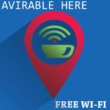 Find coffee. Free wi-fi sign for coffee shop Royalty Free Stock Photo