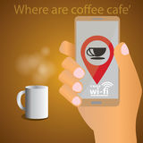 Find a coffee shop and WIFI Royalty Free Stock Photo