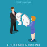 Find common ground broken chat bubble flat isometric vector 3d Stock Image