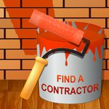 Find A Contractor Showing Finding Builder 3d Illustration. Find A Contractor Paint Showing Finding Builder 3d Illustration Royalty Free Stock Photo