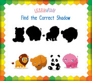 Find the correct Animals shadow.  Stock Photo