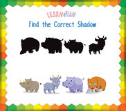 Find the correct Animals shadow Royalty Free Stock Images