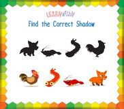 Find the correct Animals shadow.  Royalty Free Stock Photography