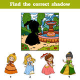Find the correct image by shadow. Princess with umbrella. Find the correct image by shadow, education game for children. Princess with umbrella Royalty Free Stock Photo