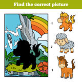 Find the correct picture, Fairy unicorn and rainbow. Find the correct picture, education game for children. Fairy unicorn and rainbow Stock Images