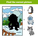 Find the correct picture, game for children, Yeti and background. Find the correct picture, education game for children, Yeti and background Royalty Free Stock Image