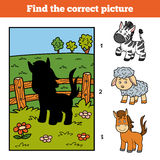 Find the correct picture. Little horse and background. Find the correct picture, education game for children. Little horse and background Stock Photos