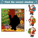 Find the correct pictures by shadow. Santa Claus. Christmas tree and fireplace Royalty Free Stock Photography