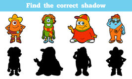 Find the correct shadow (aliens). Game for children: Find the correct shadow (aliens Royalty Free Stock Photo