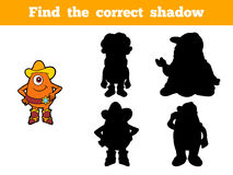 Find the correct shadow (aliens). Game for children: Find the correct shadow (aliens Stock Image