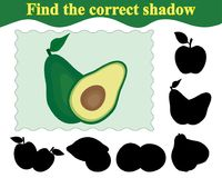 Find the correct shadow of avocado. Education. Game for children. Vector illustration Royalty Free Stock Photos
