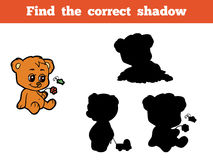 Find the correct shadow (bear). Game for children: Find the correct shadow (bear Royalty Free Stock Image