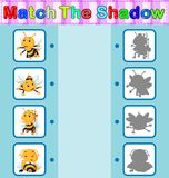 Find the correct shadow of the bee. Illustration of Find the correct shadow of the bee Royalty Free Stock Photography