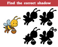 Find the correct shadow about bees. Find the correct shadow, education game for children about bees Royalty Free Stock Images