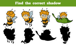 Find the correct shadow (bees). Game for children: Find the correct shadow (bees Stock Images