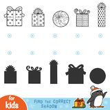 Find the correct shadow. Black and white Christmas gifts. Find the correct shadow, education games for children. Black and white Christmas gifts Stock Photography