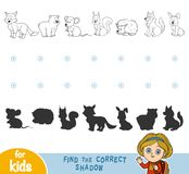 Find the correct shadow. Black and white forest animals. Find the correct shadow, education games for children. Black and white forest animals Stock Photography