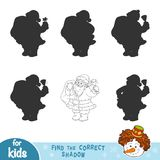 Find the correct shadow. Black and white Santa Claus. Find the correct shadow, education game for children. Black and white Santa Claus Stock Photos