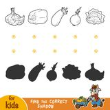 Find the correct shadow. Black and white vegetables. Find the correct shadow, education game for children. Black and white vegetables Stock Photo