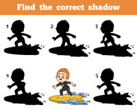 Find the correct shadow, a boy riding a surf Royalty Free Stock Images