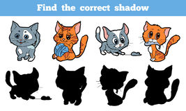 Find the correct shadow (cat). Game for children: Find the correct shadow (cat Royalty Free Stock Images