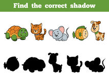Find the correct shadow for children. Animal collection. Find the correct shadow, education game for children. Animal collection with turtle, cat, mouse, fish Stock Photography