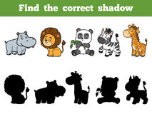 Find the correct shadow for children. Animal collection Royalty Free Stock Image