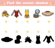 Find the correct shadow for children. Ballet items. Find the correct shadow, education game for children. Ballet items Royalty Free Stock Images