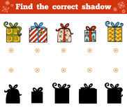 Find the correct shadow for children. Christmas gifts. Find the correct shadow, education game for children. Vector set of Christmas gifts Royalty Free Stock Image