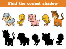 Find the correct shadow for children. Farm Animals. Find the correct shadow, education game for children. Farm Animals collection Stock Photo