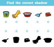 Find the correct shadow for children. Objects for cleaning Stock Photos