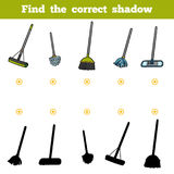 Find the correct shadow for children. Objects for cleaning Stock Images