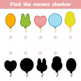 Find the correct shadow for children. Set of cartoon ballons. Find the correct shadow, education game for children. Set of cartoon balloons Royalty Free Stock Photo