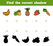 Find the correct shadow for children. Set of cartoon fruits Royalty Free Stock Photo