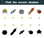 Find the correct shadow for children. Space objects Royalty Free Stock Image