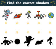 Find the correct shadow for children. Space objects Royalty Free Stock Photos
