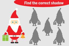 Find the correct shadow, christmas game for children, cartoon santa claus, education game for kids, preschool worksheet activity,. Task for the development of stock illustration