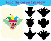 Find the correct shadow of clown`s face. Educational game. For children Royalty Free Stock Image