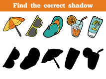 Find the correct shadow. Colorful set of objects  Royalty Free Stock Images