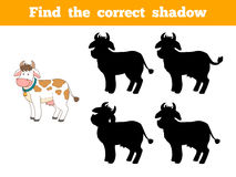 Find the correct shadow (cow). Game for children: Find the correct shadow (cow Stock Photography