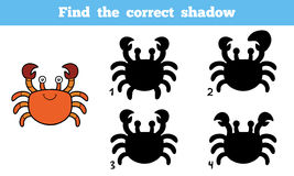 Find the correct shadow (crab). Find the correct shadow, education game for children (crab Stock Image