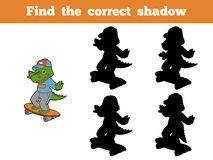 Find the correct shadow (crocodile and skateboard) Royalty Free Stock Photos