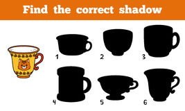 Find the correct shadow, cup. Find the correct shadow, education game for children (cup Stock Photos