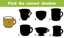 Find the correct shadow, cup. Find the correct shadow, education game for children (cup Stock Photography