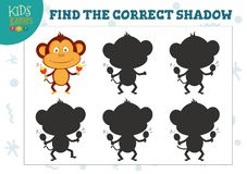 Find the correct shadow for cute cartoon dancing monkey educational preschool kids mini game stock illustration