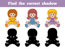 Find the correct shadow (dolls). Game for children: Find the correct shadow (dolls Stock Photo