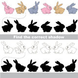 Find correct shadow for each object. Bunny set with shadows to find the correct one. Game to compare and connect objects and their true shadows, the educational Royalty Free Stock Photo