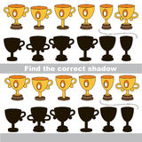 Find correct shadow for each object. Funny Winner Cups with shadows to find the correct one. Game to compare and connect objects and their true shadows, the Stock Photography