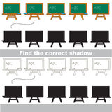 Find correct shadow for each object. Green Board set with shadows to find the correct one. Game to compare and connect objects and their true shadows, the Royalty Free Stock Photo