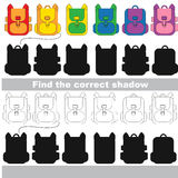 Find correct shadow for each object, the kid game. Backpacks set to find the correct shadow, the matching educational kid game to compare and connect objects Stock Photos